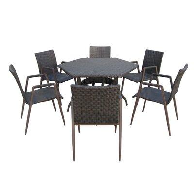 Wrought Studio Outdoor Wicker Dining Set Multibrown