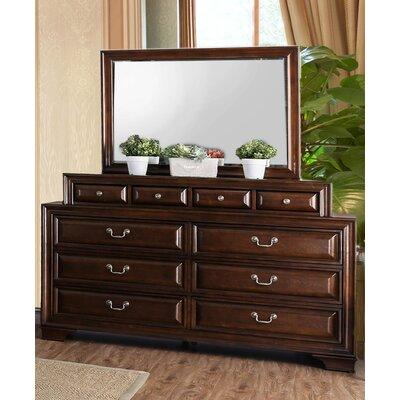 Charlton Home Drawer Double Dresser Mirror Brown Cherry