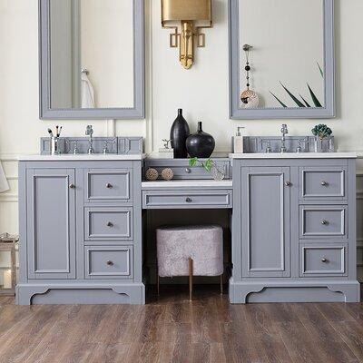 Alcott Hill Double Bathroom Vanity Set Top White Base Silver Gray