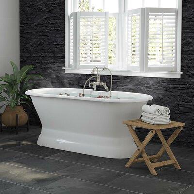 Cambridge Plumbing Ended Pedestal Freestanding Soaking Bathtub Brushed Nickel