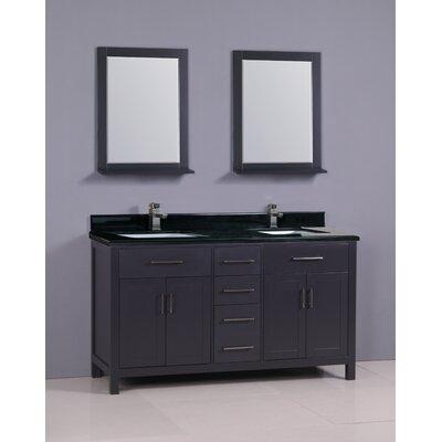 Ebern Designs Double Bathroom Vanity Set Base Black Top Black Granite