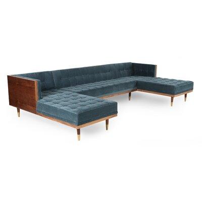 Corrigan Studio Box Sofa U Shaped Modular Sectional Frame Walnut Body