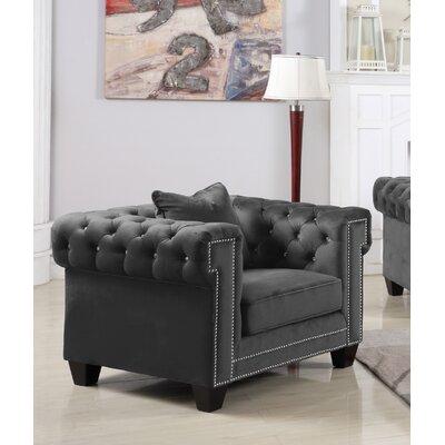Mercer41 Chesterfield Chair Mercer Upholstery Grey