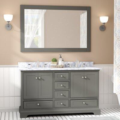 Charlton Home Double Bathroom Vanity Set Mirror Base Distressed Gray
