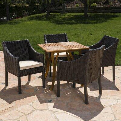 Wrought Studio Teresa Outdoor Acacia Wood Wicker Dining Set Cushions