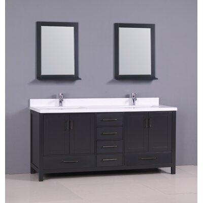 Ebern Designs Double Bathroom Vanity Set Base Dark Grey Top Snow White Quartz