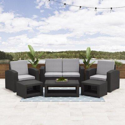 Wrought Studio Patio Rattan Sofa Set Cushions Frame Black