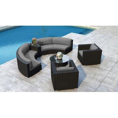 Everly Quinn Sectional Set Cushion Frame Coffee Bean Cushion Canvas Charcoal