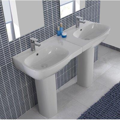 Bissonnet Ceramic Pedestal Bathroom Sink Set Overflow