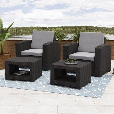 Wrought Studio Patio Conversation Set Cushions Frame Black