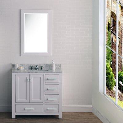 Ebern Designs Cashmere Single Bathroom Vanity Set Mirror Base White