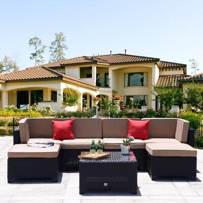 Ebern Designs Maia Rattan Sectional Set Cushions