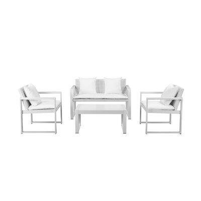 Orren Ellis Rattan Sofa Seating Group White Frame White