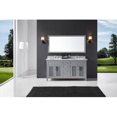 Highland Dunes Double Bathroom Vanity Set Mirror Base Taupe Gray