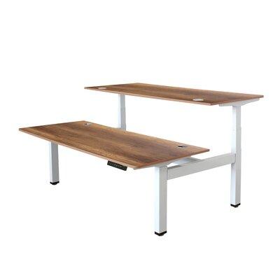 Symple Stuff Electric Height Adjustable Desk Walnut White