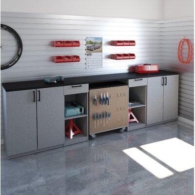 Rebrilliant Workbench Mobile Storage Unit Cabinets Set Silver Gray