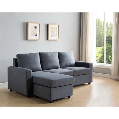 Wrought Studio Wood Reversible Sectional Ottoman Upholstery Gray