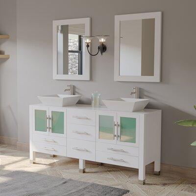 Ebern Designs Double Bathroom Vanity Base White Chrome
