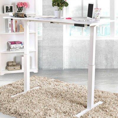 Symple Stuff Minimalist Metallic Height Adjustable Standing Desk White