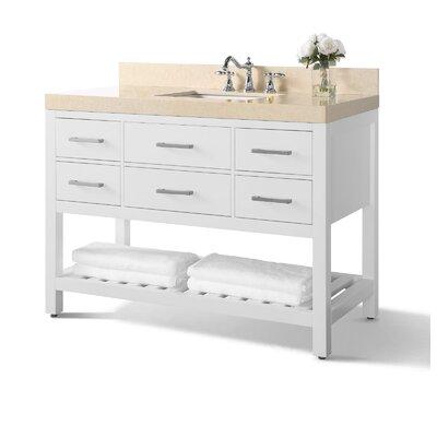 Mercer41 Single Bathroom Vanity Set Mercer Top Beige Base White