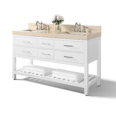 Mercer41 Double Bathroom Vanity Set Mercer Top Beige Base White