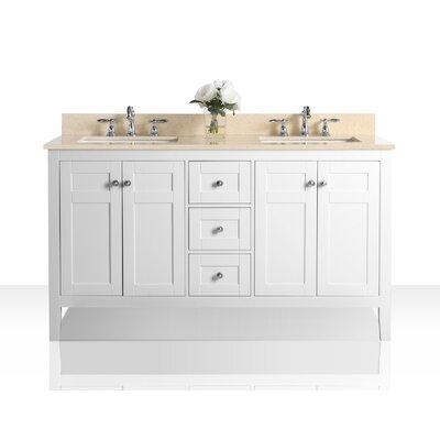 House Of Hampton Double Bathroom Vanity Set House Of Hampton Top Beige Base White