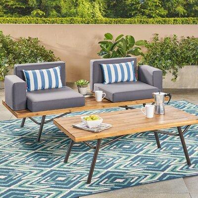 Williston Forge Acacia Wood Conversation Set Cushions