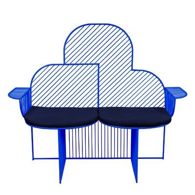 Bend Goods Metal Bench Upholstery Navy Sky Blue