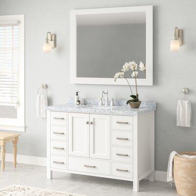 Andover Mills Single Rectangle Bathroom Vanity Mirror Base White