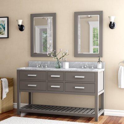 Andover Mills Double Sink Bathroom Vanity Set Mirror Base Cashmere Gray