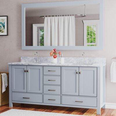Andover Mills Double Bathroom Vanity Set Mirror Base Midnight Blue