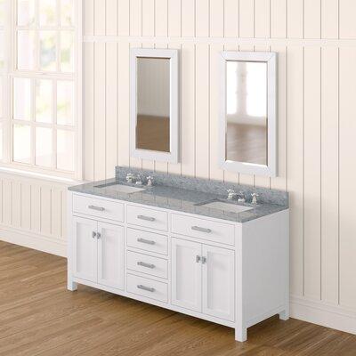 Andover Mills Double Bathroom Vanity Set Mirror Base Solid White