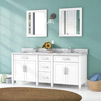 Gracie Oaks Marble Stone Double Bathroom Vanity Set Mirror Base White