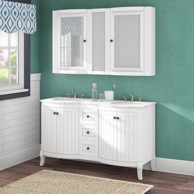 Beachcrest Home Double Vanity Set Mirror Base White