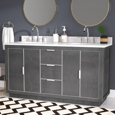 Everly Quinn Double Bathroom Vanity Set White Quartz Silver
