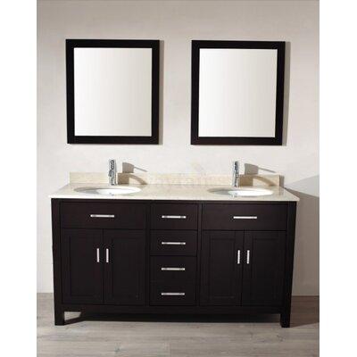 Bauhaus Bath Double Bathroom Vanity Set Mirror Base White Faucet No Faucet