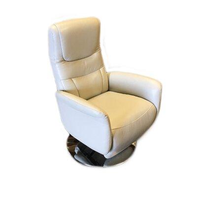 Latitude Run Leather Power Recliner Upholstery Light Gray