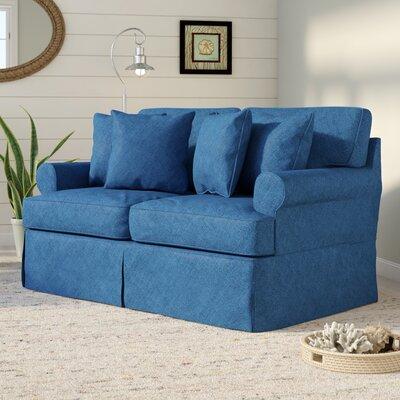Beachcrest Home Gables Slipcovered Loveseat Upholstery Indigo Blue