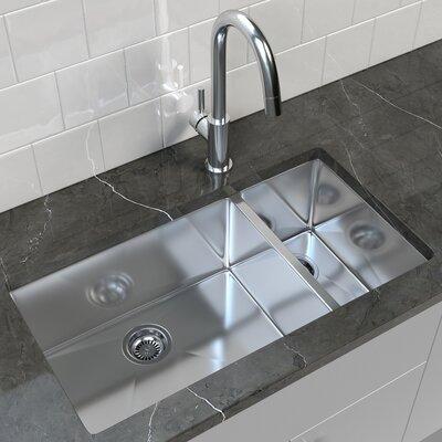 Cantrio Stainless Steel Double Basin Undermount Kitchen Sink