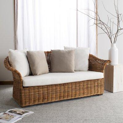 Highland Dunes Loveseat Frame Natural Cushion Cream Beige