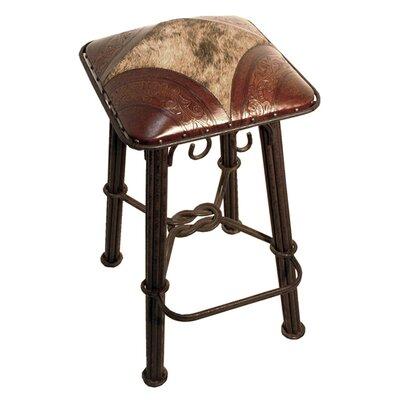 Fleur De Lis Living Metal Bar Stool Leather Seat