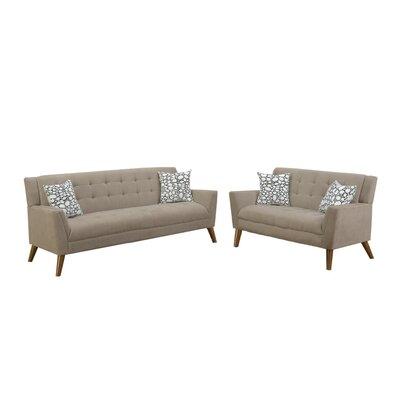 George Oliver Velvet Living Room Set Upholstery Light Brown