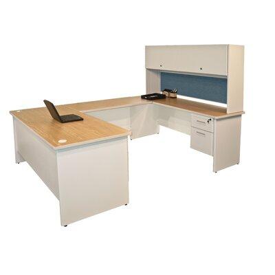 Executive Desk Hutch Oak Putty