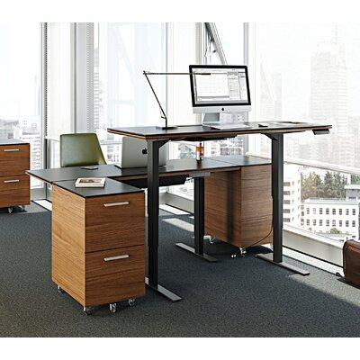 Bdi Adjustable Glass Standing Desk Natural Walnut