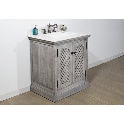 August Grove Single Bathroom Vanity Set Top Arctic Pearl