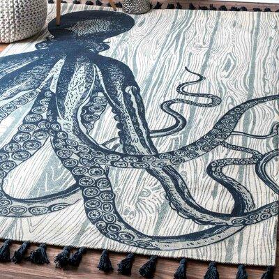 Hand-Woven Octopus Ivory Area Rug | 50 Nautical Inspired Ideas For Home Decor | Inexpensive Nautical Decor | DIY Home Decor | theMRSingLink