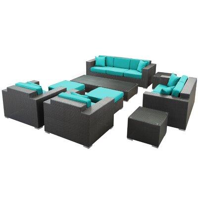 Modway Rattan Sofa Set Cushions Espresso Turqoise