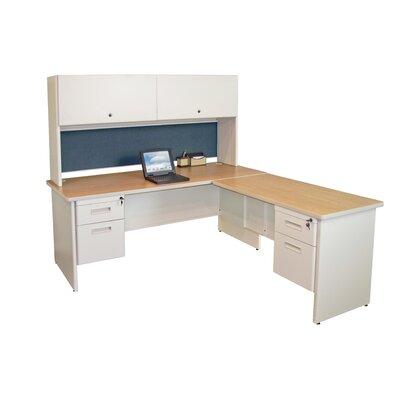 Marvel Pedestal Executive Desk Hutch Oak Putty