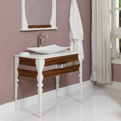 Decolav Single Bathroom Vanity Set Base Black Limba White Gloss