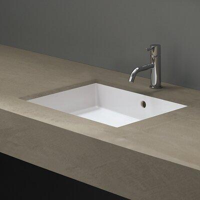 Bissonnet Boutique Ceramic Rectangular Undermount Bathroom Sink Overflow